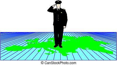 Policeman saluting