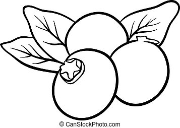 blueberry fruits for coloring book - Black and White Cartoon...
