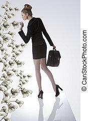 empresa / negocio, mujer, toma, dólar, dinero, planta