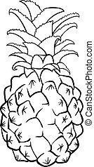 pineapple fruit for coloring book - Black and White Cartoon...