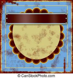 Vintage tin sign - Old vintage blue tin sign close up
