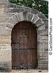 Vintage doorway - Old door at historic St Augustine, Floria,...