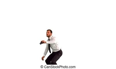 Businessman jumping up and taking picture - Businessman...
