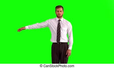 Businessman dancing and body poppin