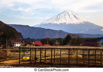 View of mt fuji from iyashino sato village