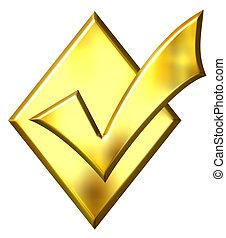 3D Golden Ticked Diamond
