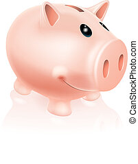 Piggy Bank Character - A Drawing of a smiling cartoon piggy...