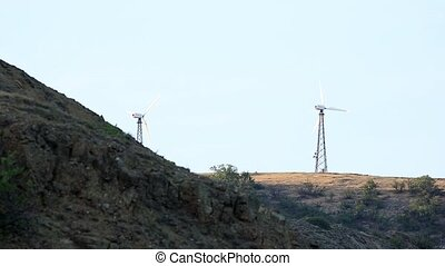 Wind farm in the mountains Mountain Meganom, Crimea, Ukraine...