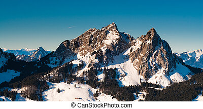 Kleiner Mythen mountain peak in winter, Schwyz, Switzerland