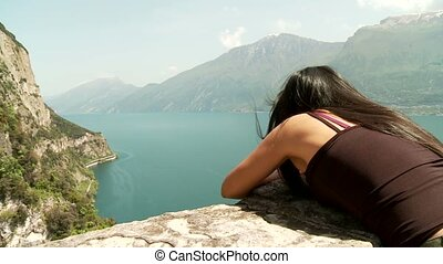 Woman At Lake Garda, Italy - woman at the lake garda in...