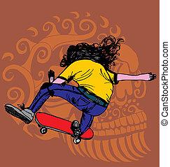 skull and skate vector art