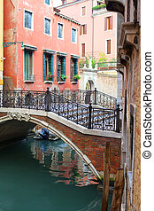 Venice. Italy - Beautiful romantic Venetian scenery. Street,...