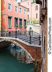 Venice. Italy - Beautiful romantic Venetian scenery. Street,...