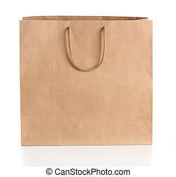 Paper shopping bag with handles over white background