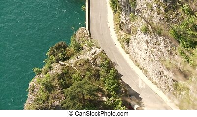 Street at lake garda, Italy - road at the lake garda in...