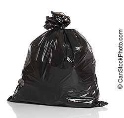 黑色, 垃圾, 袋子, 被隔离, 在上方, whi