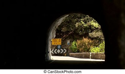 Car in Tunnel, Street in Mountains - car in a tunnel on the...