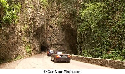 Cars in Canyon Street - road SP 38 at the brasa canyon at...