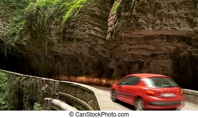 Mountain Road, Italy - road SP 38 at the brasa canyon at the...
