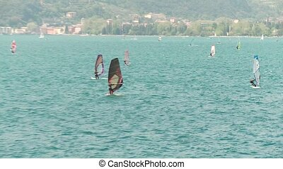 Sail Boarder at Lake Garda, Italy - sail boarders at the...