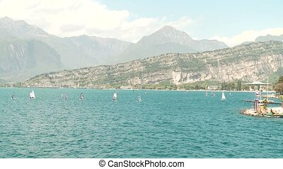 Sail Boarder at Lake Garda, Italy - sail boarders at the...