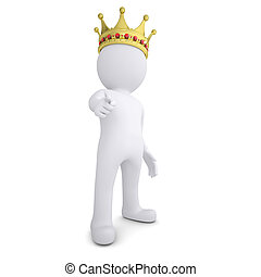 3d white man with the crown pointing the finger at the...