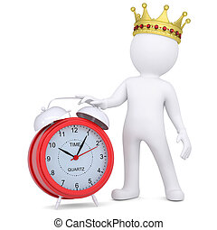 3d white man with crown holding a red alarm clock