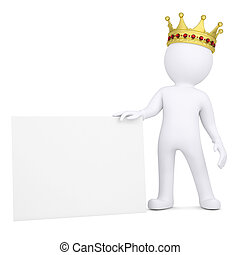 3d man with crown holding blank business card - 3d white man...