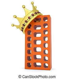 Crown on the brick building. Isolated render on a white...
