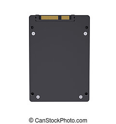 Solid-state drive with the crown. Isolated render on a white...