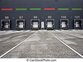 Loading docks - Loading bay with numbers for loading and...