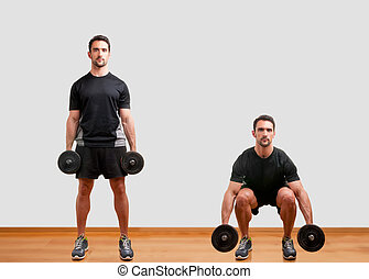 Dumbbell Squat - Personal Trainer doing dumbbell squat for...