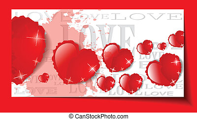 Heart from paper Valentines day card grunge background