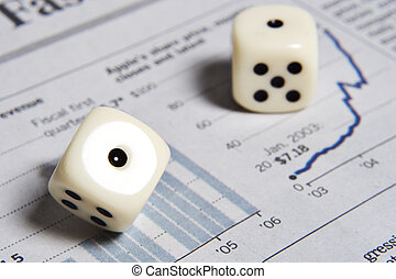 Rolling the dice with tstock market - Dice on a graph from a...