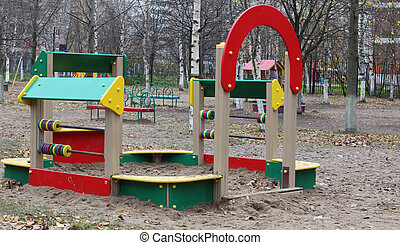 sandbox on the playground, fall, nobody