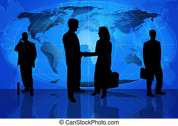 Global business team - Silhouette of business professionals...