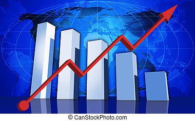 Global markets are up and down - 3d rendered graph with...