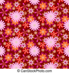 Simply seamless pink flowers on dark background