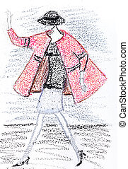 girl in a short pink coat from 60th years - fashion of 20th...