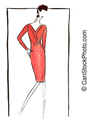 red midi business dress in 90th years - fashion of 20th...