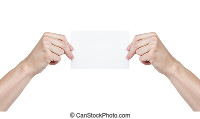 two adult man hands holding blank paper sheet
