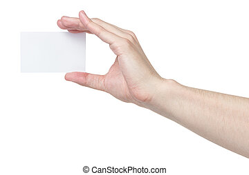 adult man hand holding blank visiting card, isolated on...
