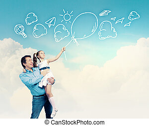 Father holding on hands daughter - Image of happy father...