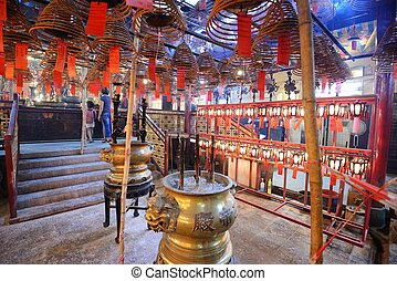 Man Mo Temple - Interior of Man Mo Temple in Hong Kong,...