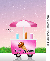 Ice cream cart - illustration of ice cream cart