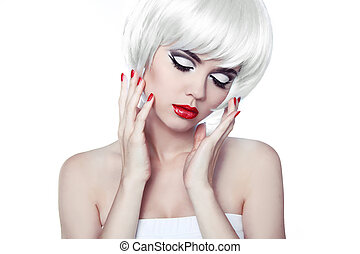 Red Lips and Manicured Nails. Fashion Stylish Beauty Portrait with White Short Hair. Beautiful Girl Close-up. Haircut. Hairstyle. Fringe.