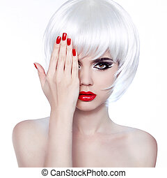 White Hair and Red Nails. Fashion Beauty Girl. Red lips....