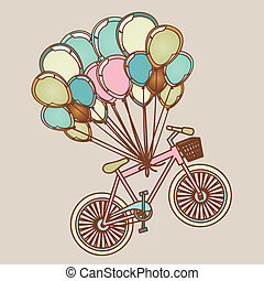 bicycles and balloons over lilac background vector...