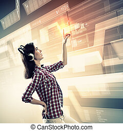 Woman touching virtual screen