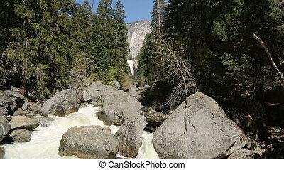 Vernal Falls, Yosemite - The Vernal falls and fast flowing...